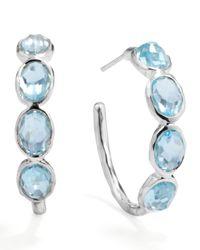 Ippolita | Metallic Silver Blue Topaz Hoop Earrings | Lyst