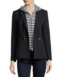 Veronica Beard - Black Striped Hood Scuba Jacket - Lyst