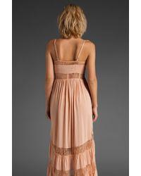 Shakuhachi - Pink Lace Paneled Maxi Dress - Lyst