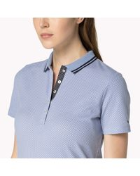 Tommy Hilfiger | Blue Cotton Blend Patterned Polo | Lyst