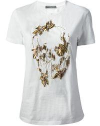Alexander McQueen | White Beaded Skull T-Shirt | Lyst