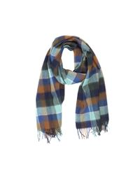 Scotch & Soda - Blue Multicolor Check Scarf With Fringes - Lyst