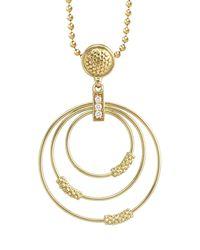 Lagos - Metallic 18K Gold Caviar 3-Hoop Pendant Necklace With Diamonds - Lyst