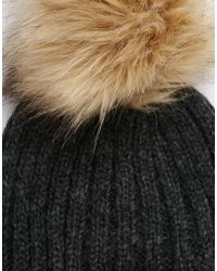 Pieces - Black Varen Pom Beanie Hat - Lyst