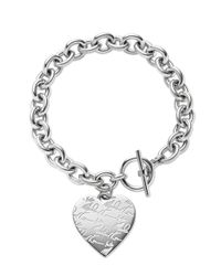 Michael Kors - Metallic Silvertone Etched Mk Heart Bracelet - Lyst