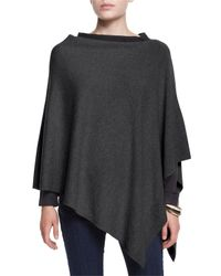 Eileen Fisher | Gray Cozy Wool Poncho | Lyst