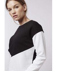 TOPSHOP | White Petite Colour Block Sweatshirt | Lyst