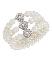Carolee | White Glass Pearl Three Row | Lyst