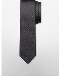 Calvin Klein | Gray White Label X Fit Extreme Slim Micro Plaid Tie for Men | Lyst
