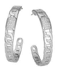 John Hardy | Metallic Classic Chain Silver Diamond Pave Medium Hoop Earrings | Lyst