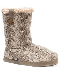 Muk Luks - Brown ® Arden Mid-shaft Sweater Boot Slippers - Lyst