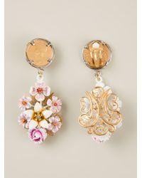 Dolce & Gabbana - Metallic Floral Drop Earrings - Lyst