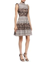 Alexander McQueen - Pink Ruffled Snake-print Fit-and-flare Dress - Lyst