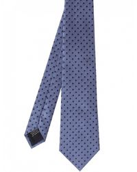 Jules B - Blue Silk Blend Herringbone Polka Dot Tie for Men - Lyst