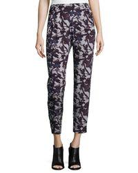 Zero + Maria Cornejo - Blue Floral-Print Stretch-Silk Pants - Lyst