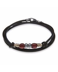 Platadepalo - Black Classic Leather And Red Resin Bracelet - Lyst