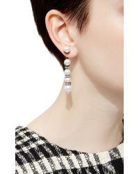 Oscar de la Renta | White Pearl Pave Backdrop Earrings | Lyst