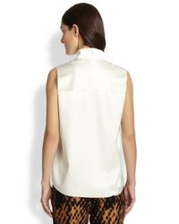 3.1 Phillip Lim White Satin French Terry Mockneck Top