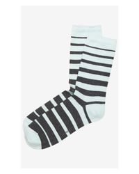 Express - Blue Tipped Striped Crew Socks - Lyst