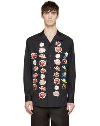 Yohji Yamamoto - Black Embroidered Flowers Shirt for Men - Lyst