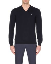 J.Lindeberg | Blue V-neck Merino-wool Knitted Jumper, Men's, Size: M, Navy Mel for Men | Lyst