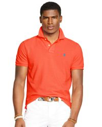 Polo Ralph Lauren | Orange Custom-Fit Mesh Polo Shirt for Men | Lyst