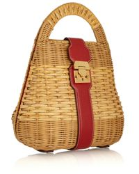 Mark Cross - Natural Manray Leather-Trimmed Rattan Tote - Lyst