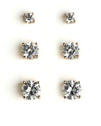 Lord & Taylor | White Set Of Cubic Zirconia Earrings | Lyst