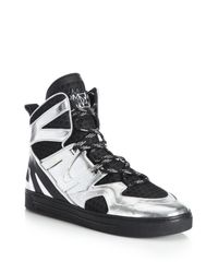 Marc By Marc Jacobs - Metallic Ninja Leather & Textile High-top Sneakers - Lyst