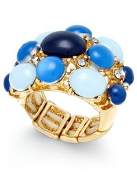 INC International Concepts | Metallic Gold-tone Blue Stone And Crystal Statement Ring, Only At Macy's | Lyst