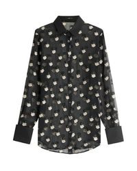 Etro - Embroidered Silk-blend Blouse - Black - Lyst