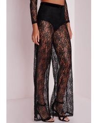 Missguided | Sheer Lace Wide Leg Pants Black | Lyst