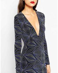 ASOS | Black Tall Night Glitter Pattern Plunge Midi Dress | Lyst