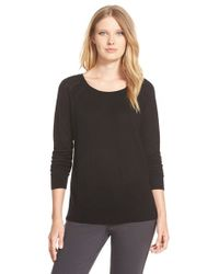 Nordstrom Collection - Black Scoop Neck Silk & Cashmere Pullover - Lyst