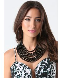 Bebe | Black Beaded Multi-row Necklace | Lyst