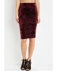 Forever 21 - Purple Crushed Velvet Bodycon Skirt - Lyst