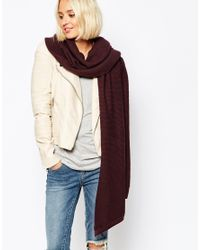 Pieces - Red Ribbed Oversized Blanket Scarf - Lyst