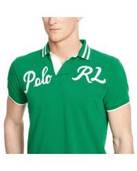 Polo Ralph Lauren - Green Custom-fit Mesh Polo Shirt for Men - Lyst