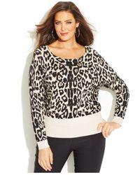 INC International Concepts - Multicolor Plus Size Animal-Print Sweater - Lyst