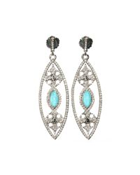 Armenta | Blue New World Open Marquise Maltese Cross Drop Earrings | Lyst