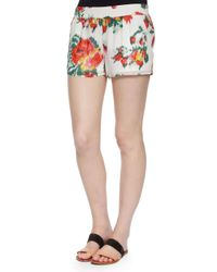 Joie - White Lanina Floral Ikat-Printed Shorts - Lyst