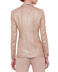 Akris - Pink Notched Collar Silk-Lamé Jacket - Lyst