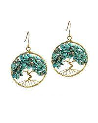 Aeravida | Green Eternal Tree Of Life Turquoise Stone Branch Brass Dangle Earrings | Lyst