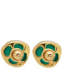 Monica Vinader - Gold-Plated Green Onyx Siren Stud Earrings - Lyst