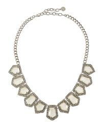 R.j. Graziano | Metallic Crystal Pentagon Bib Necklace | Lyst