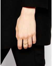 ASOS - Metallic Gold Plated Sterling Silver Leaf Ring - Lyst
