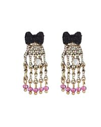 Betsey Johnson - Purple Creepshow Bow Skeleton Hand Drop Earrings - Lyst