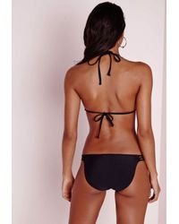 Missguided - Knotted Detail Bikini Set Black - Lyst