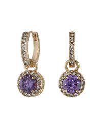 Betsey Johnson - Purple Cubic Zirconia Recolor Small Hoop Circle Drop Earrings - Lyst