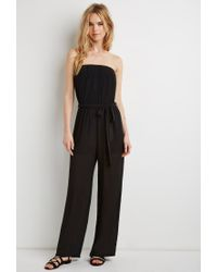 Forever 21 - Black Strapless Chiffon Jumpsuit - Lyst